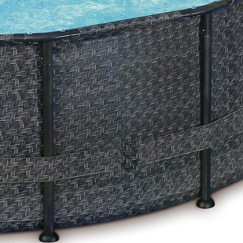Xxl Frame Pool Set In Rattan Mosaik Optik Stahlrahmen Rund
