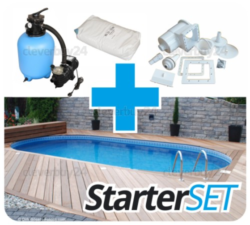 ovalpool set stahlwandpool oval pool stahlwandbecken ovalbecken schwimmbad ebay. Black Bedroom Furniture Sets. Home Design Ideas