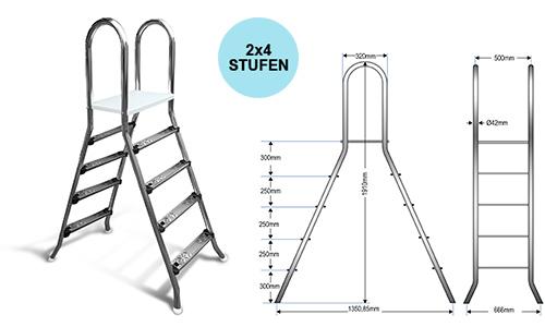 Aufstellleiter für Becken bis 120cm / 2x4 Stufen