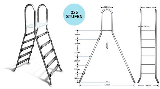 Aufstellleiter für Becken bis 150cm / 2x5 Stufen