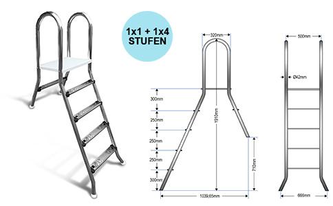 Aufstellleiter für Becken bis 120cm / 1x1+1x4 Stufen