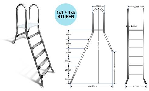 Aufstellleiter für Becken bis 150cm / 1x1+1x5 Stufen