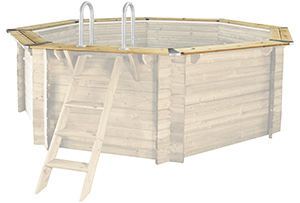Edelstahlecken Set Holzpools - Komplettansicht